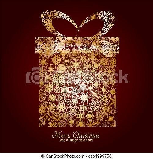 Christmas card with gift box made from gold snowflakes on brown background and a wish of Merry Christmas and a Happy New Year, vector illustration - csp4999758