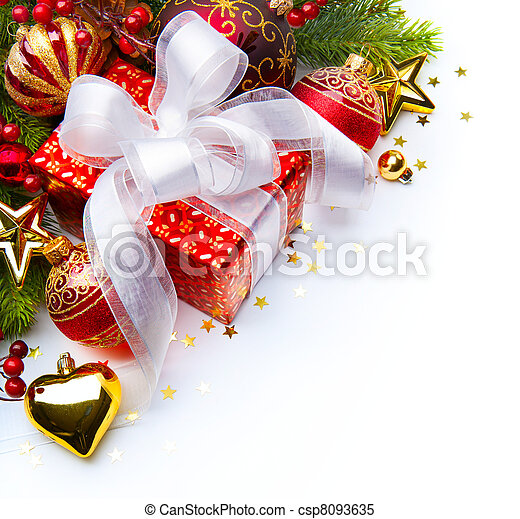 Christmas card with gift boxes and Christmas decorations - csp8093635