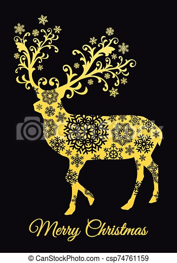 Christmas card with gold deer, vector - csp74761159