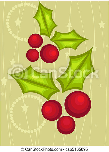 Christmas card with holly berry - csp5165895