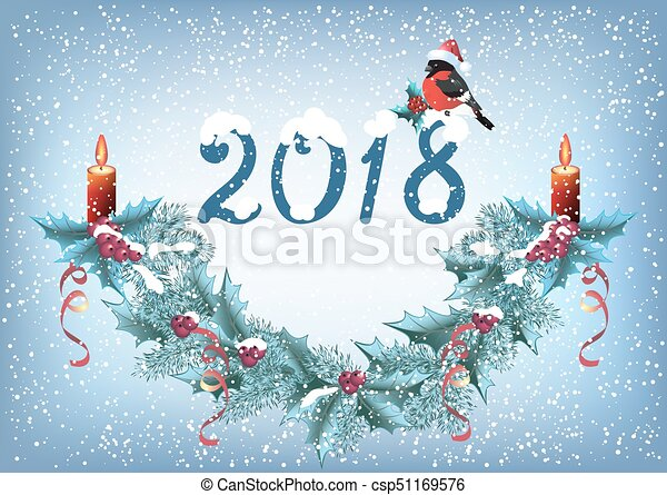 "Christmas card with inscription ""2018"" and bullfinch in Santa hat, spruce garland with burning candle - csp51169576"