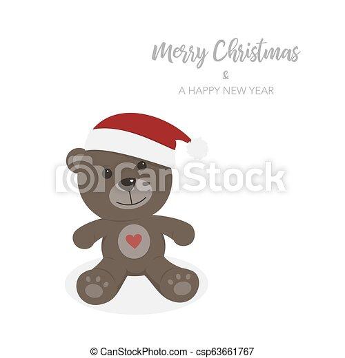 Christmas card with isolated teddy bear - csp63661767