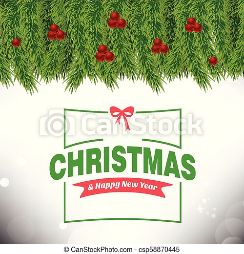 Christmas card with leafs and cherries frame and typographic - csp58870445