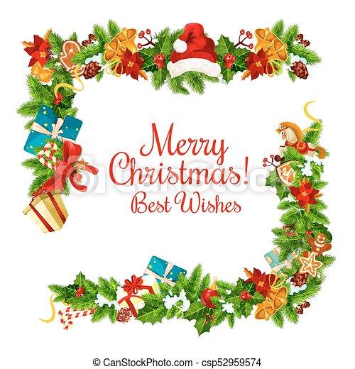 Christmas card with new year garland frame corner. Christmas holiday ...