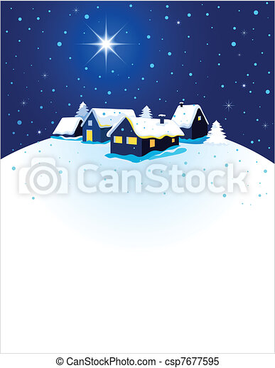 Christmas card with night town and snow  - csp7677595