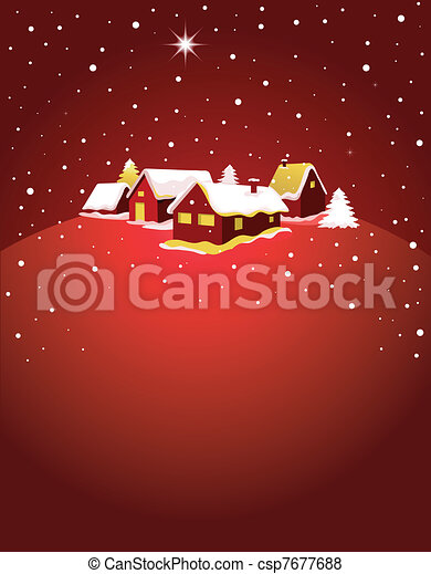 Christmas card with night town and snow  - csp7677688