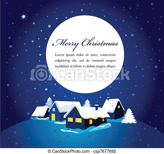 Christmas card with night town and snow  - csp7677692