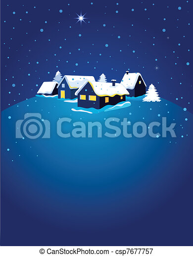 Christmas card with night town and snow  - csp7677757