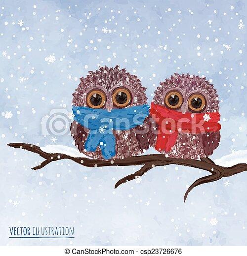 Christmas card with owl - csp23726676
