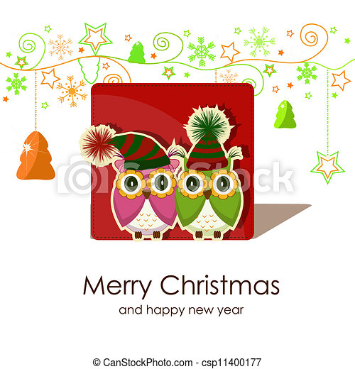 Christmas card with owls - csp11400177
