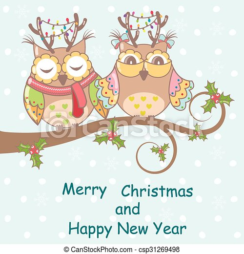 Christmas card with owls on a tree  - csp31269498