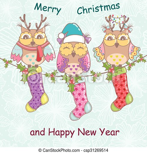 Christmas card with owls  - csp31269514