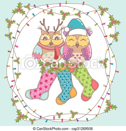Christmas card with owls - csp31269506