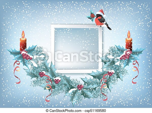 Christmas card with photo frame, spruce garland and bullfinch in Santa hat - csp51169580