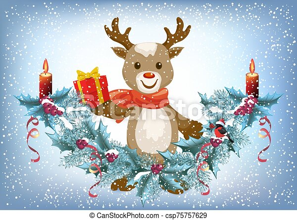 Christmas card with reindeer deer holding gift box and spruce garland with burning candle and bullfinch bird in Santa hat on the snowfall background - csp75757629