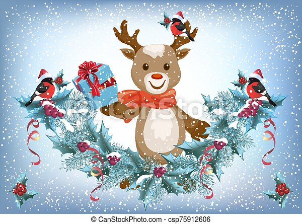 Christmas card with reindeer deer holding gift box and spruce garland with bullfinch bird in Santa hat on the snowfall background - csp75912606