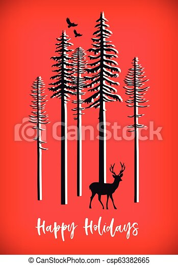 Christmas card with reindeer, vector - csp63382665