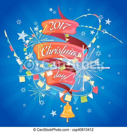 Christmas card with ribbon - csp40810412