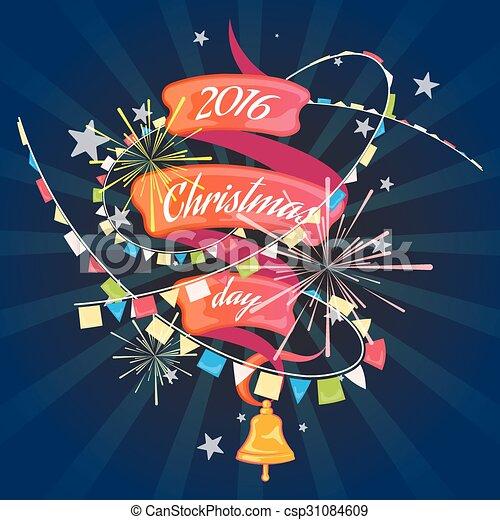 Christmas card with ribbon - csp31084609