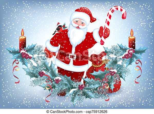 Christmas card with Santa Claus holding striped candy cane, and spruce garland with burning candle and bullfinch bird on shoulder in Santa hat on the snowfall background - csp75912626