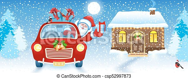 Christmas card with Santa Claus in car and house and Santa's workshop against winter forest background background - csp52997873