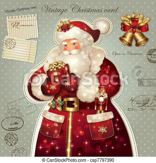 christmas card with santa claus csp7797390 - Santa Claus Christmas Cards