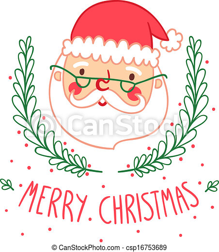 Christmas Card Drawing.Christmas Card With Santa