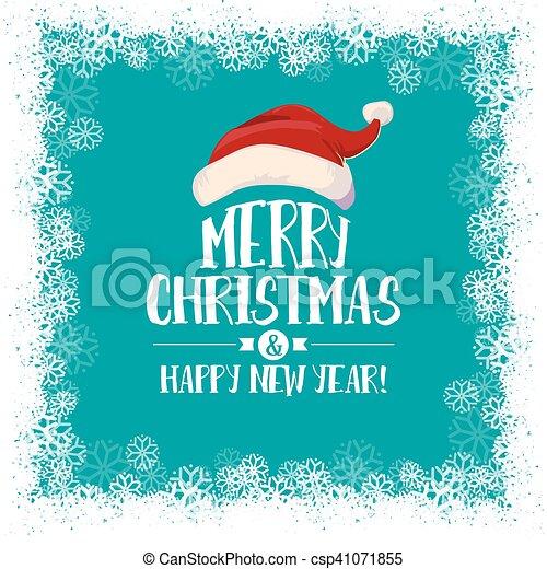 Christmas card with Santa hat and border - csp41071855