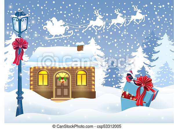 Christmas card with Santa's workshop and gift box against winter forest background and Santa Claus in sleigh with reindeer team - csp53312005