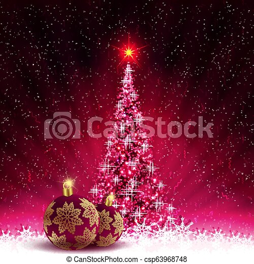 Christmas card with shiny Christmas tree and burgundy balls with golden snowflakes. - csp63968748