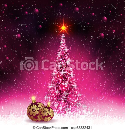 Christmas card with shiny Christmas tree and balls with golden snowflakes. - csp63332431