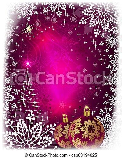 Christmas card with shiny Christmas tree, balls and snowflakes. - csp63194025