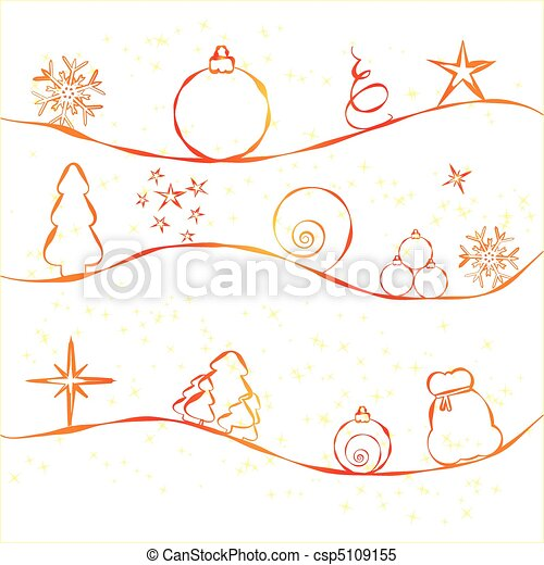 Christmas Card With Simple Decorations On Strry Background