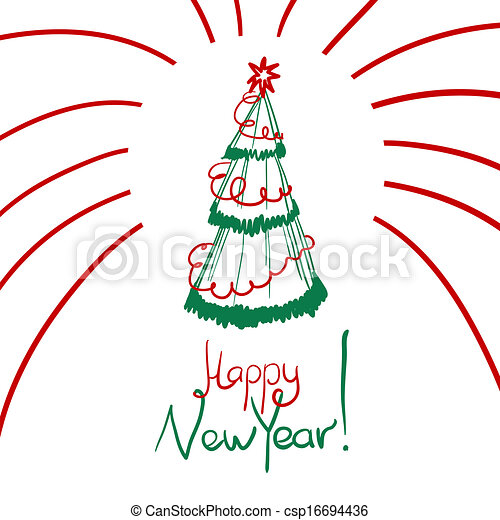 christmas card with sketch new year tree csp16694436