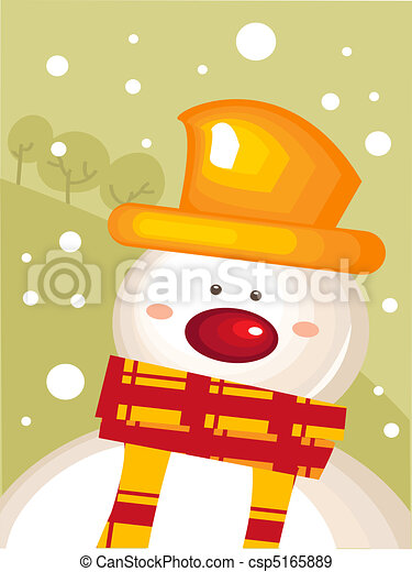 Christmas card with snowman - csp5165889