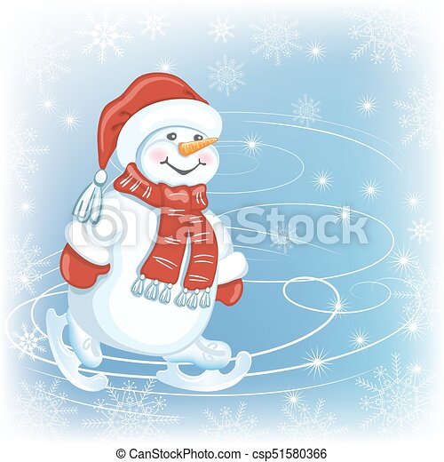 Christmas card with  Snowman in Santa cap and in skates on skating rink - csp51580366