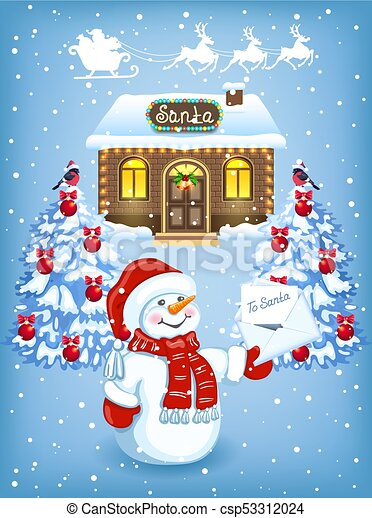 Christmas card with Snowman with Christmas letter for Santa Claus against workshop house background and Santa Claus in sleigh with reindeer team - csp53312024