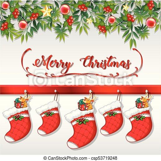 Christmas Card With Socks Hanging On Wall