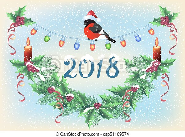 Christmas card with spruce garland, burning candle and bullfinch in Santa hat on the snowfall background - csp51169574