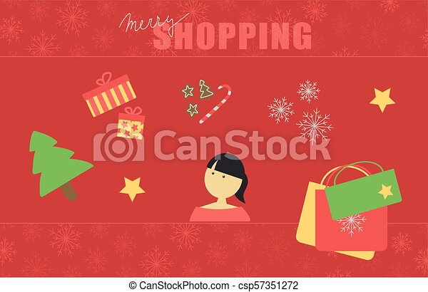 Christmas Card With Text Merry Shopping