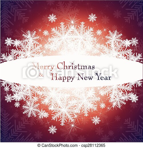 Christmas card with tree and snowflakes. - csp28112365