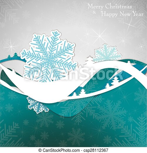 Christmas card with tree and snowflakes. - csp28112367