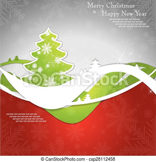 Christmas card with tree and snowflakes. - csp28112458