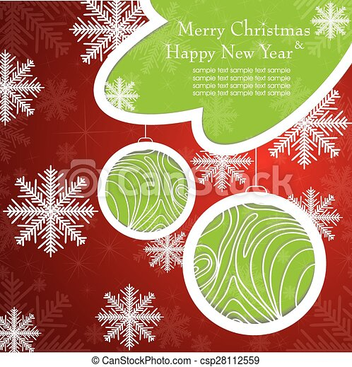 Christmas card with tree and snowflakes. - csp28112559