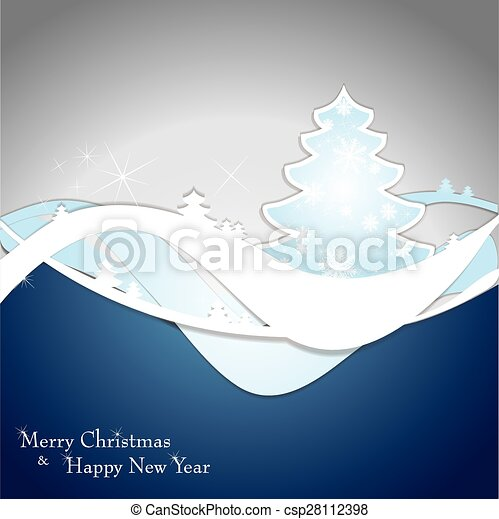 Christmas card with tree and snowflakes. - csp28112398