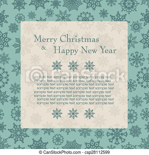 Christmas card with tree and snowflakes. - csp28112599