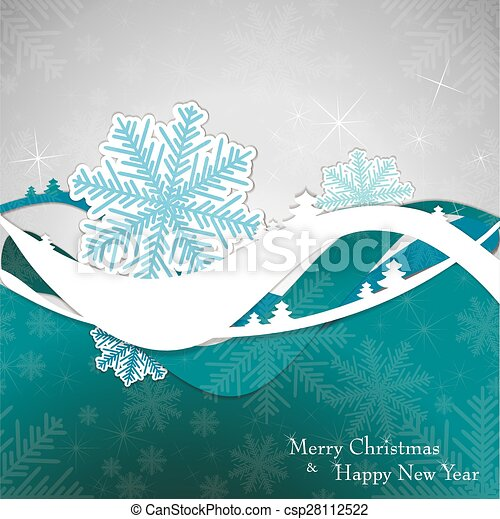 Christmas card with tree and snowflakes. - csp28112522