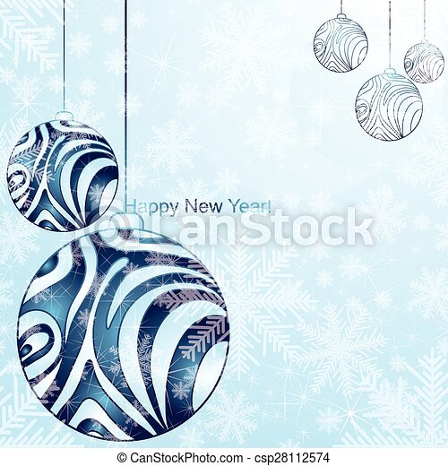 Christmas card with tree and snowflakes. - csp28112574
