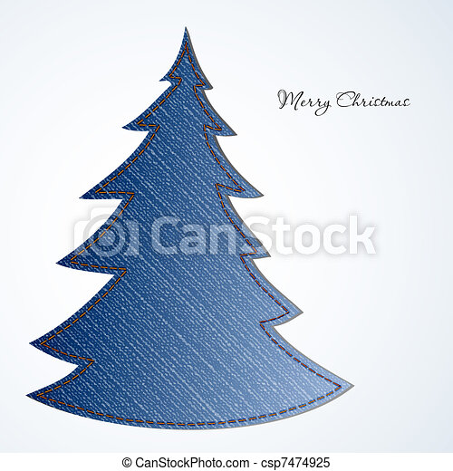 Christmas card with tree from material jeans - csp7474925