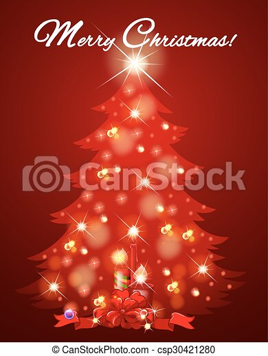 Christmas card with tree full of light - csp30421280